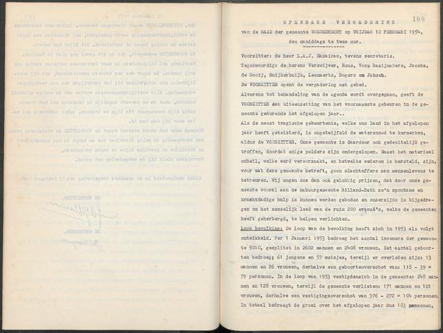 Woensdrecht: Notulen gemeenteraad, 1922-1996 1954-01-01