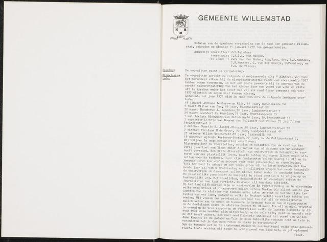 Willemstad: Notulen gemeenteraad, 1927-1995 1977-01-01