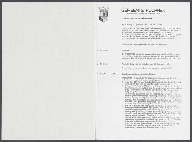Rucphen: Notulen gemeenteraad, dec. 1949-1998 1995-01-01