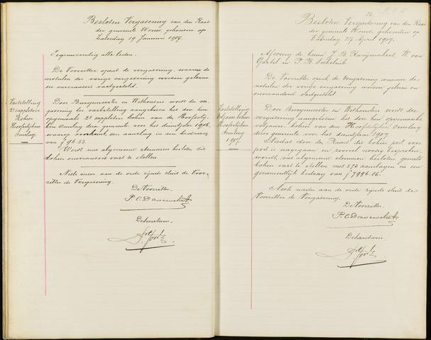 Wouw: Notulen gemeenteraad (besloten), 1902-1919 1907
