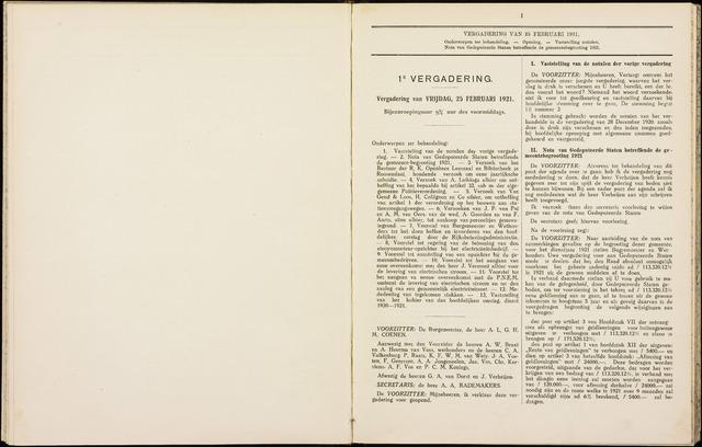 Roosendaal: Notulen gemeenteraad, 1918-1935 1921