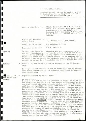Zundert: Notulen gemeenteraad, 1934-1988 1974-01-01