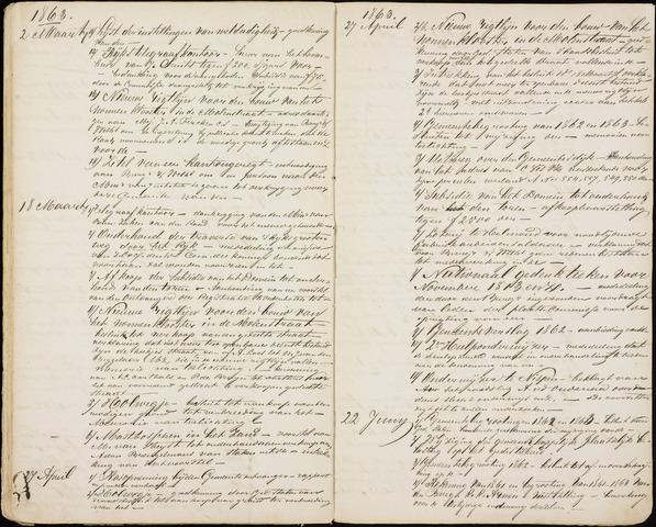 Roosendaal: Inhoudsopgaven notulen, 1849-1903 1863