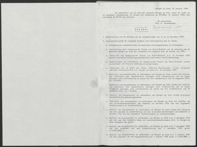 Bergen op Zoom: Notulen gemeenteraad, 1926-1996 1984-01-01