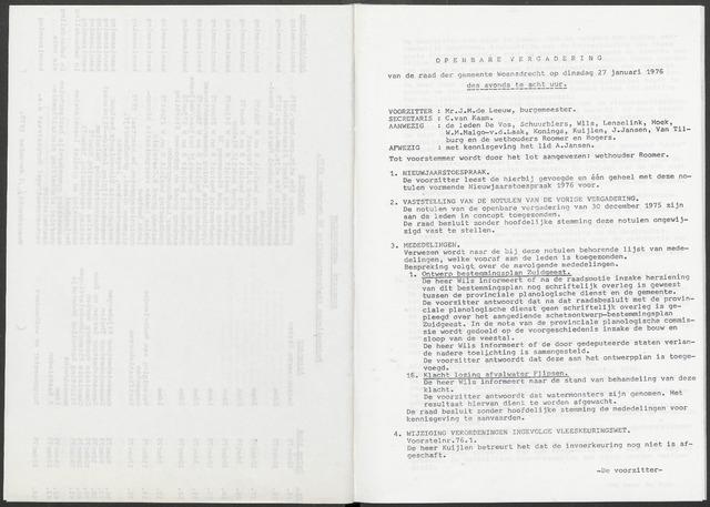 Woensdrecht: Notulen gemeenteraad, 1922-1996 1976-01-01