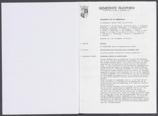 Rucphen: Notulen gemeenteraad, dec. 1949-1998 1996-01-01
