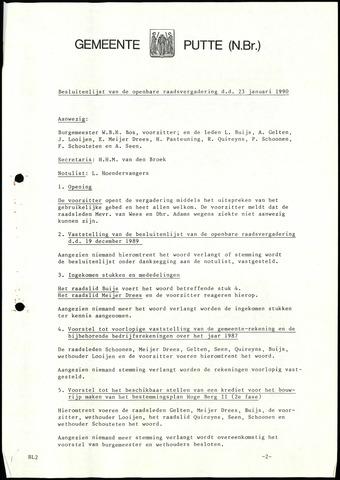 Putte: Notulen gemeenteraad, 1928-1996 1990-01-01