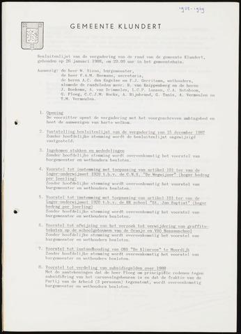 Klundert: Notulen gemeenteraad, mei 1933-1996 1988