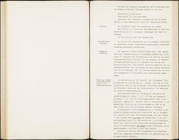Hoeven: Notulen gemeenteraad, 1928-1996 1959-01-01