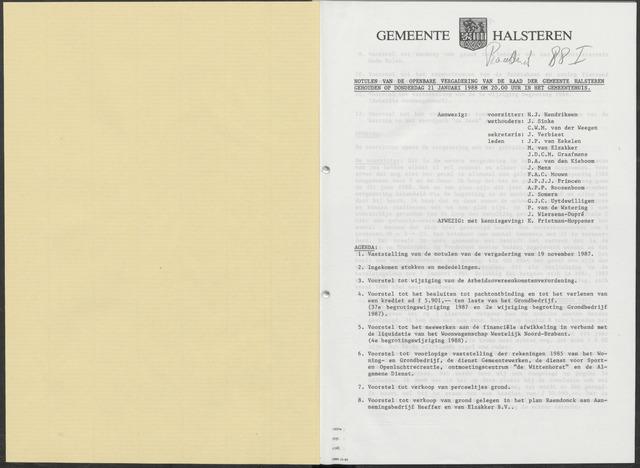 Halsteren: Notulen gemeenteraad, 1960-1996 1988