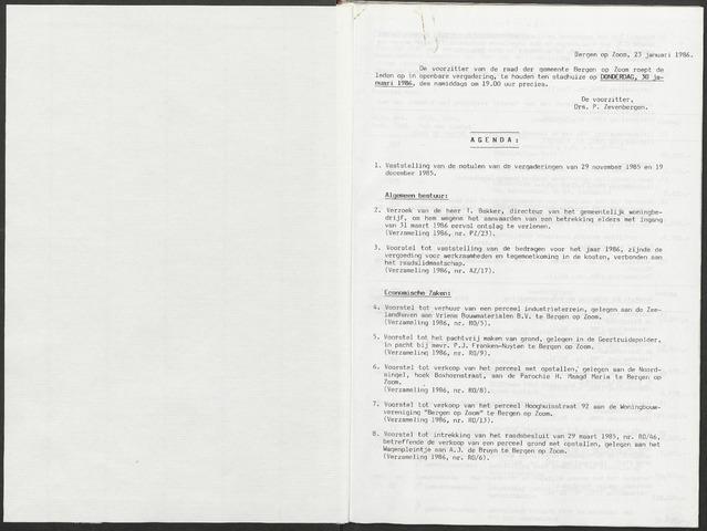 Bergen op Zoom: Notulen gemeenteraad, 1926-1996 1986-01-01