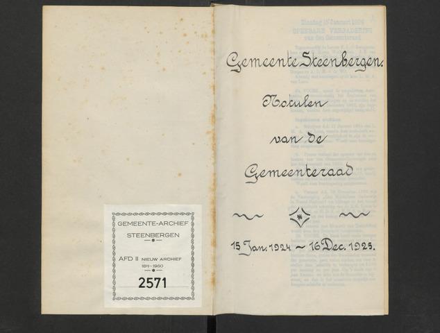 Steenbergen: Notulen gemeenteraad, 1920-1996 1924-01-01