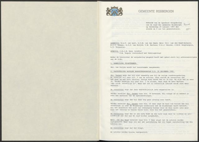 Rijsbergen: Notulen gemeenteraad, 1940-1996 1983
