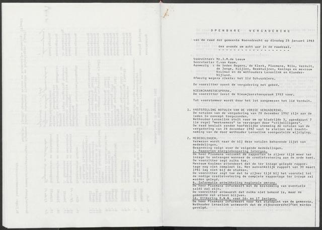 Woensdrecht: Notulen gemeenteraad, 1922-1996 1983-01-01