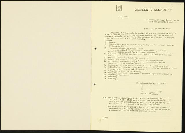 Klundert: Notulen gemeenteraad, mei 1933-1996 1983
