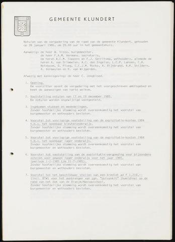 Klundert: Notulen gemeenteraad, mei 1933-1996 1986