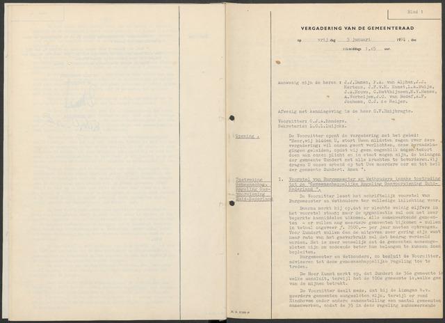 Zundert: Notulen gemeenteraad, 1934-1988 1958-01-01