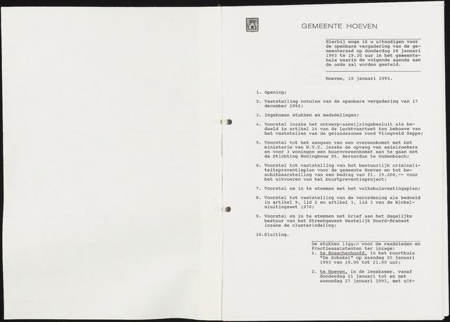 Hoeven: Notulen gemeenteraad, 1928-1996 1993-01-01