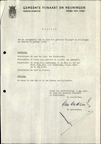 Fijnaart en Heijningen: notulen gemeenteraad, 1934-1995 1966