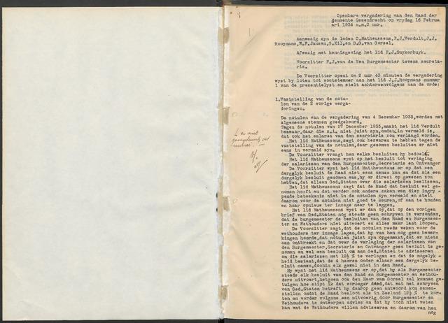 Ossendrecht: Notulen gemeenteraad, 1920-1996 1934