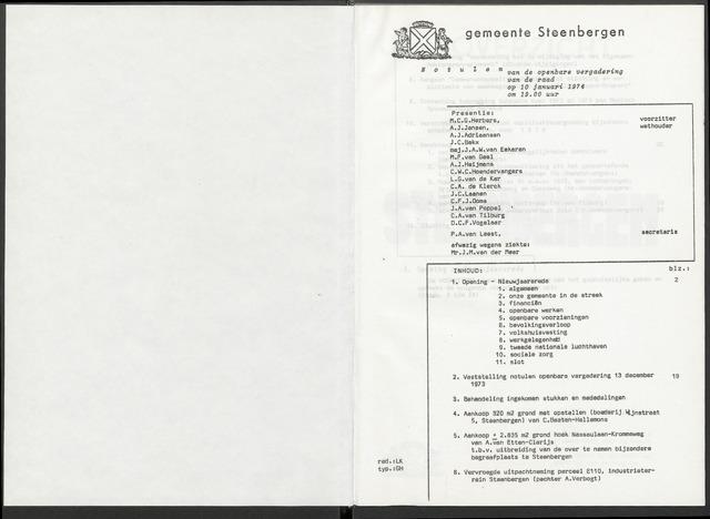 Steenbergen: Notulen gemeenteraad, 1920-1996 1974-01-01