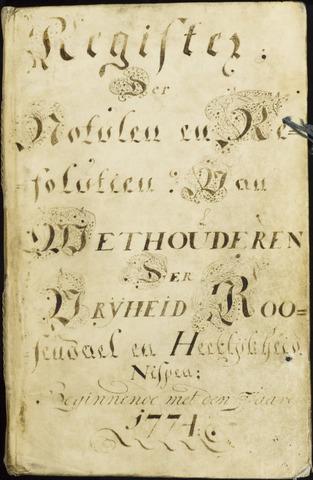 Roosendaal: Registers van resoluties, 1671-1673, 1675, 1677-1795 1774