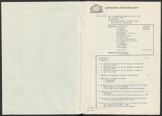 Steenbergen: Notulen gemeenteraad, 1920-1996 1979-01-01