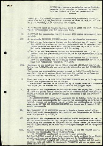 Putte: Notulen gemeenteraad, 1928-1996 1958-01-01
