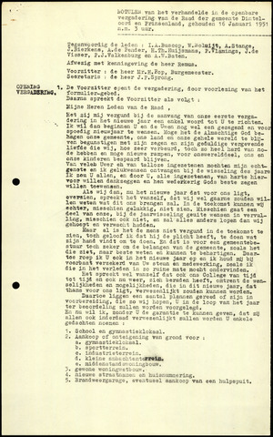 Dinteloord: Notulen gemeenteraad, 1946-1996 1951