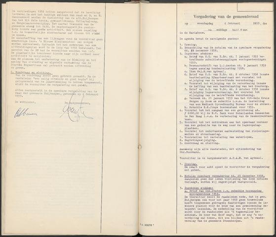 Huijbergen: Notulen gemeenteraad 1935-1996 1959-01-01