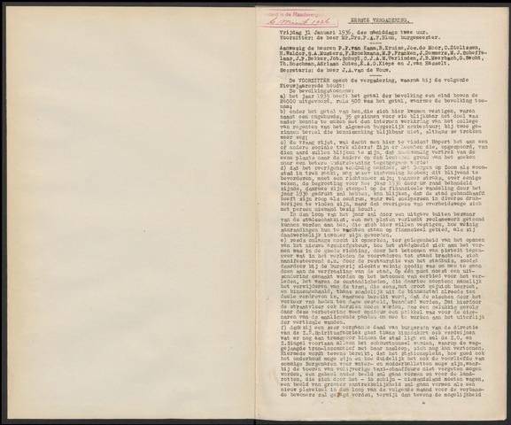 Bergen op Zoom: Notulen gemeenteraad, 1926-1996 1936-01-01