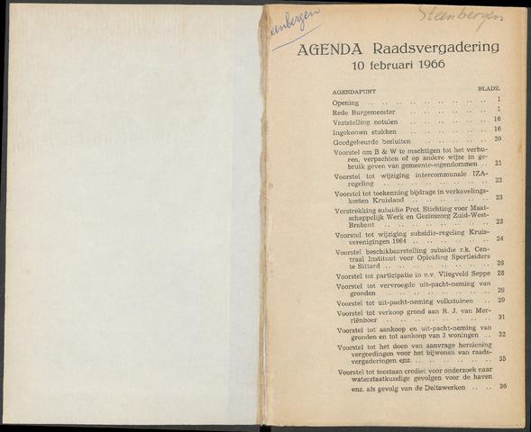 Steenbergen: Notulen gemeenteraad, 1920-1996 1966-01-01