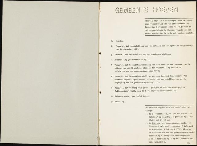 Hoeven: Notulen gemeenteraad, 1928-1996 1972-01-01
