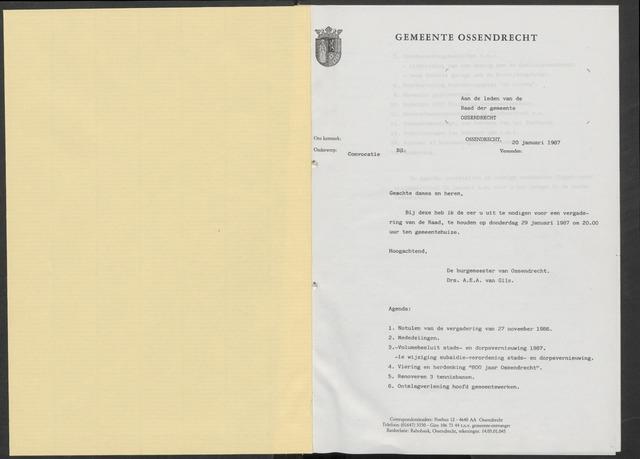 Ossendrecht: Notulen gemeenteraad, 1920-1996 1987