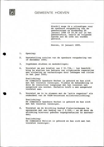 Hoeven: Notulen gemeenteraad, 1928-1996 1996-01-01