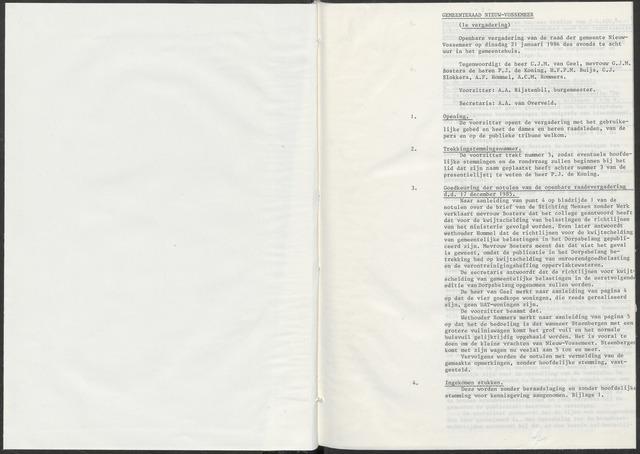 Nieuw-Vossemeer: Notulen gemeenteraad, 1957-1996 1986-01-01