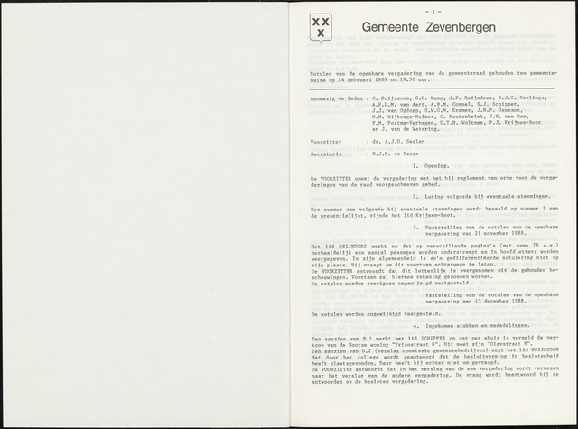 Zevenbergen: Notulen gemeenteraad, 1930-1996 1989-01-01