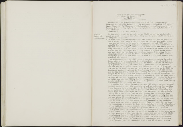 Oud en Nieuw Gastel: Notulen gemeenteraad, 1938-1980 1958-01-01