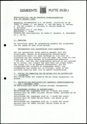 Putte: Notulen gemeenteraad, 1928-1996 1996-01-01