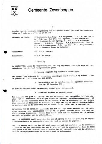 Zevenbergen: Notulen gemeenteraad, 1930-1996 1995-01-01