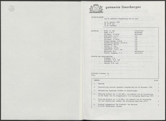 Steenbergen: Notulen gemeenteraad, 1920-1996 1991-01-01