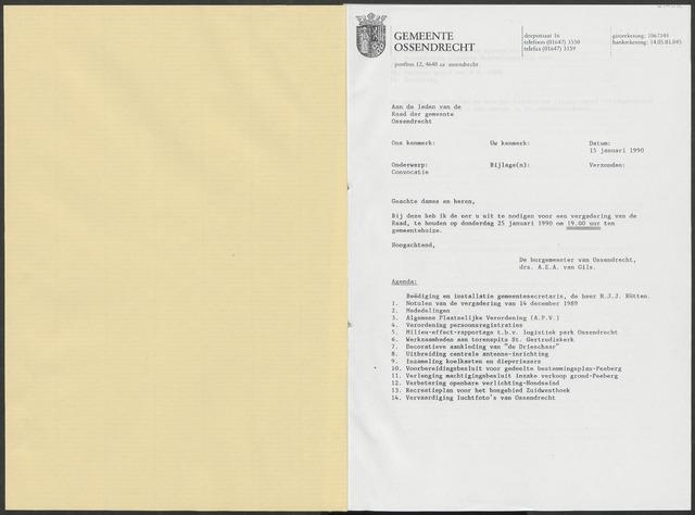 Ossendrecht: Notulen gemeenteraad, 1920-1996 1990