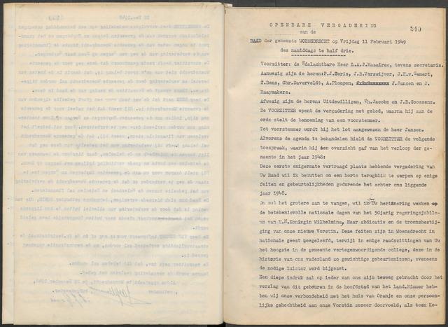 Woensdrecht: Notulen gemeenteraad, 1922-1996 1949-01-01