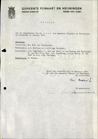 Fijnaart en Heijningen: notulen gemeenteraad, 1934-1995 1967