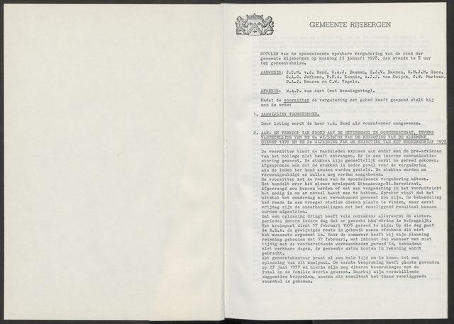 Rijsbergen: Notulen gemeenteraad, 1940-1996 1978