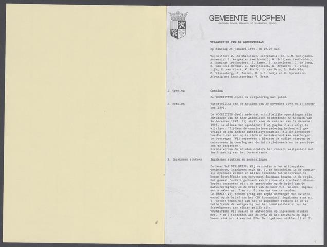 Rucphen: Notulen gemeenteraad, dec. 1949-1998 1994-01-01