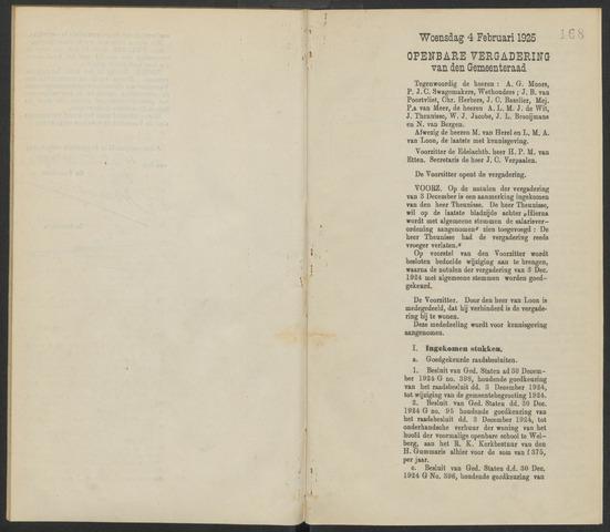 Steenbergen: Notulen gemeenteraad, 1920-1996 1925-01-01