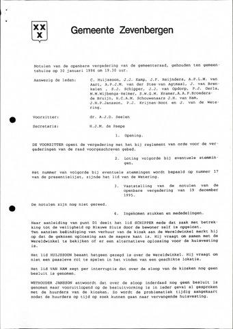 Zevenbergen: Notulen gemeenteraad, 1930-1996 1996-01-01