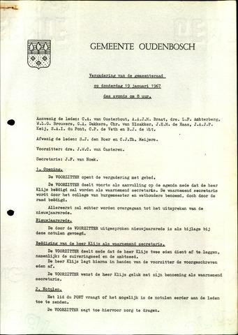 Oudenbosch: Notulen gemeenteraad, 1939-1994 1967-01-01