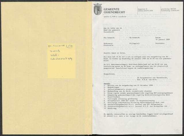 Ossendrecht: Notulen gemeenteraad, 1920-1996 1989